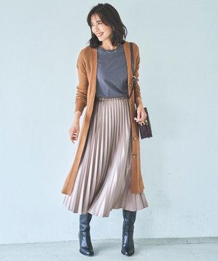 23区 サテンプリーツレザーライク スカート モカ系