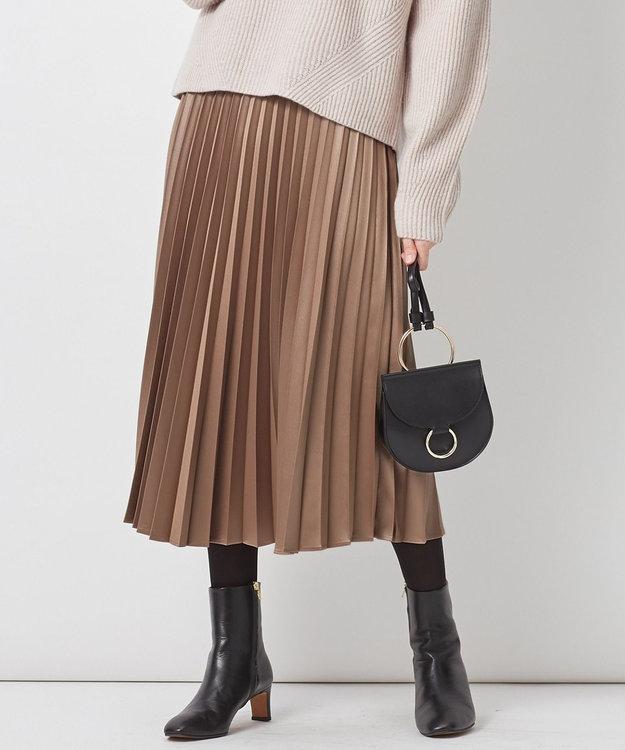 23区 サテンプリーツレザーライク スカート