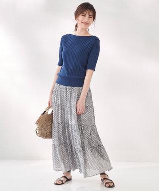 23区 S 【洗える】TILE PRINT LAWN スカート ブラック系1