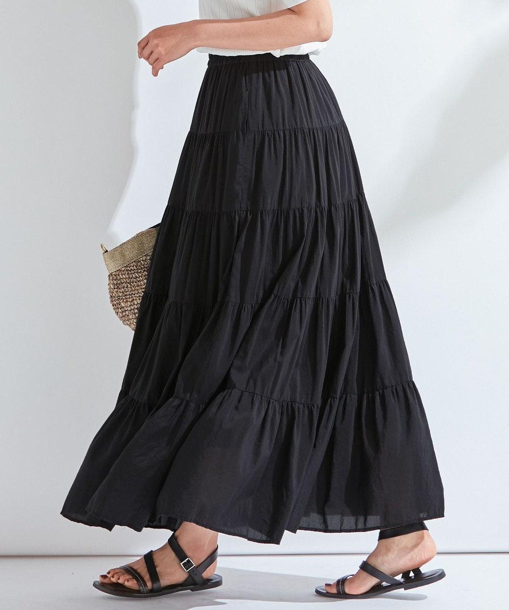 23区 L 【洗える】SILK COTTON LAWN スカート ブラック系