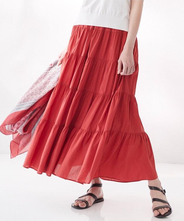 23区 L 【洗える】SILK COTTON LAWN スカート