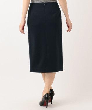 23区 S 【洗える】ハイゲージツイルジャージー スカート ネイビー系