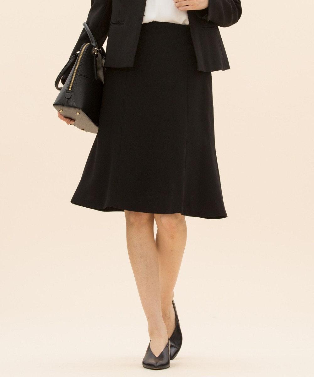 23区 【セットアップ対応】トリアセダブルジョーゼット フレアスカート ブラック系