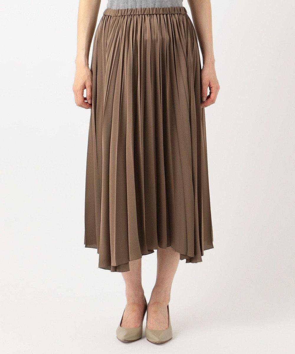 23区 【中村アンさん着用】サテンプリーツ スカート(検索番号D24) ブラウン系