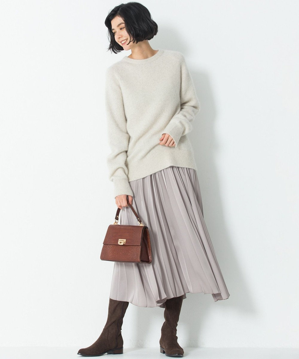 23区 S 【中村アンさん着用】サテンプリーツ スカート(検索番号D24) ベージュ系