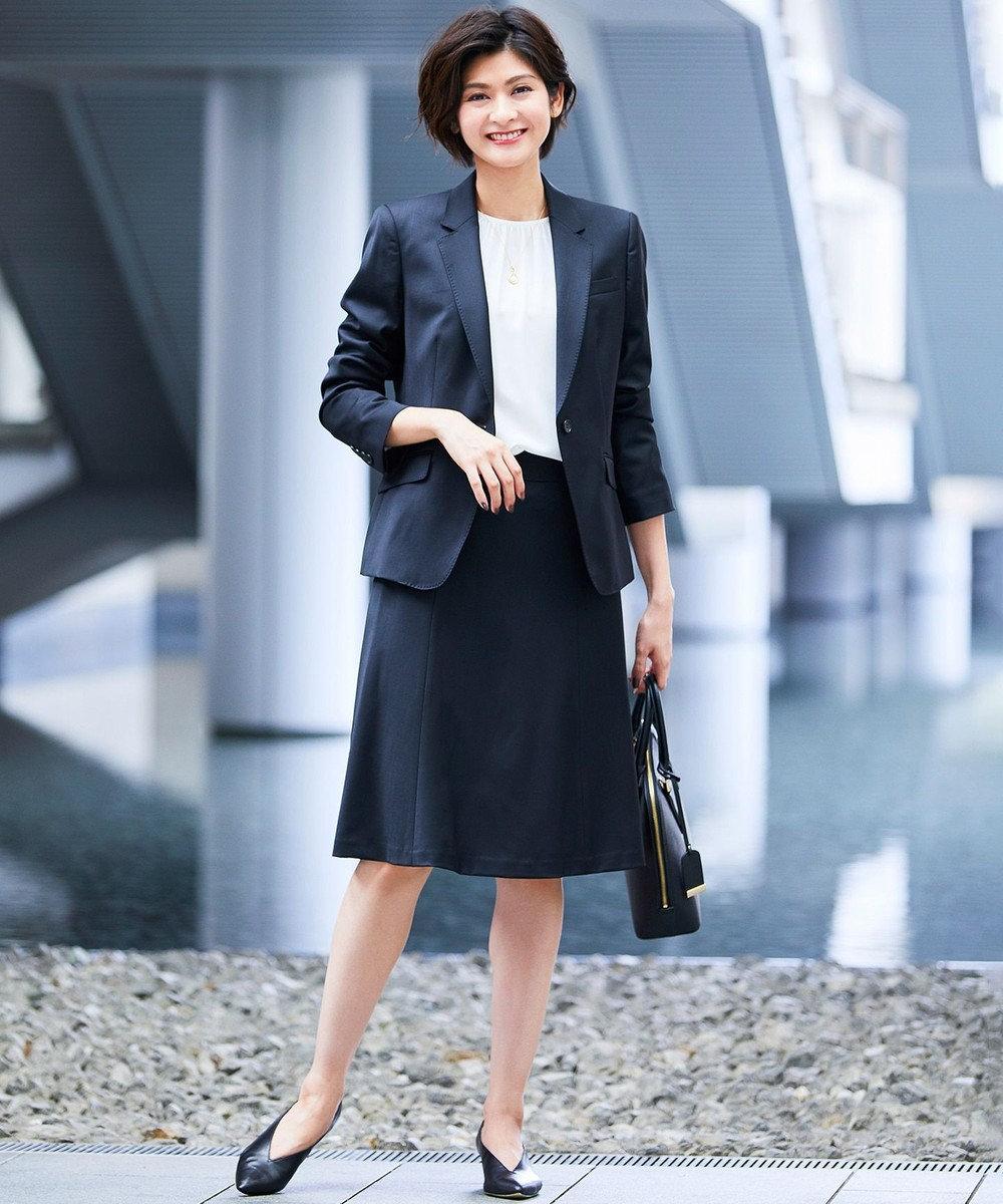 23区 L 【セットアップ対応】ファインネスウール フレア スカート ブラック系