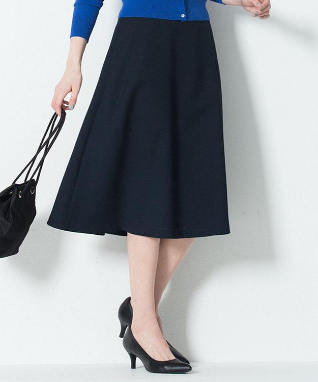 23区 L 【洗える】ブライトスラブツイル ラップスカート ネイビー系