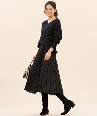 23区 【マガジン掲載】アシンメトリープリーツ スカート(検索番号H49) ネイビー系