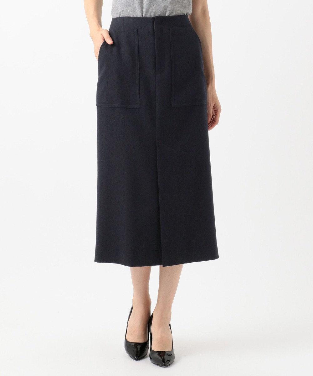 23区 【先行予約】ダブルクロスパッチポケット スカート ネイビー系