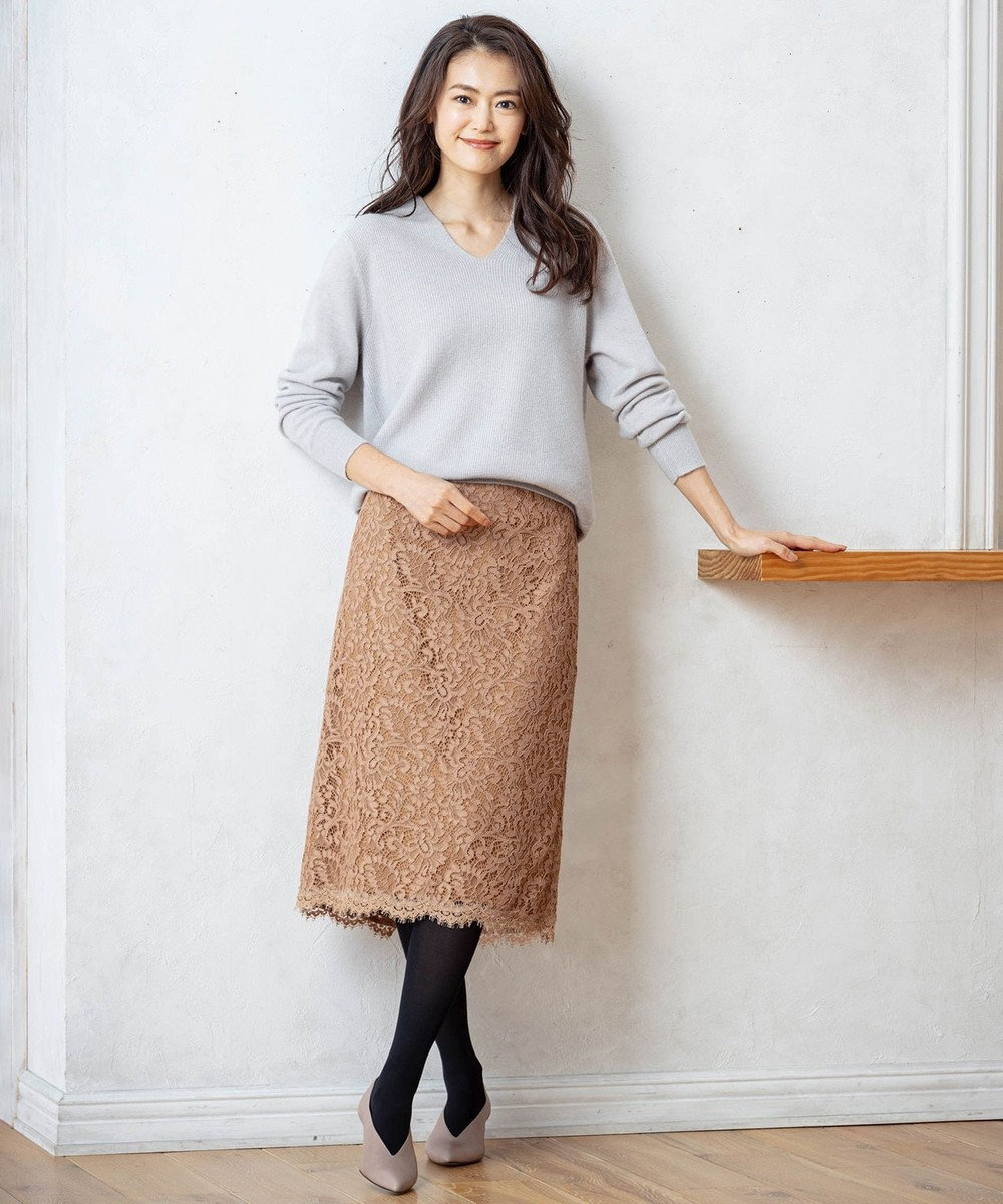 23区 S 【マガジン掲載】ペイズリーフラワーレース スカート(検索番号K45) キャメル系
