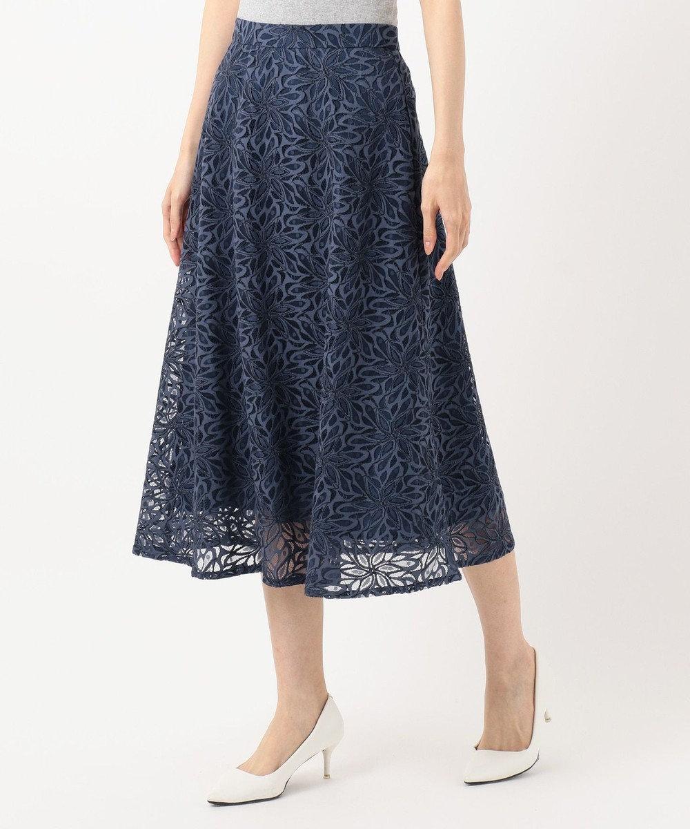 any SiS S 【洗える】カラーパターンレース スカート ネイビー
