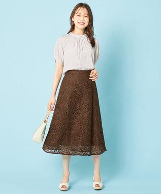 any SiS S 【洗える】カラーパターンレース スカート ブラウン