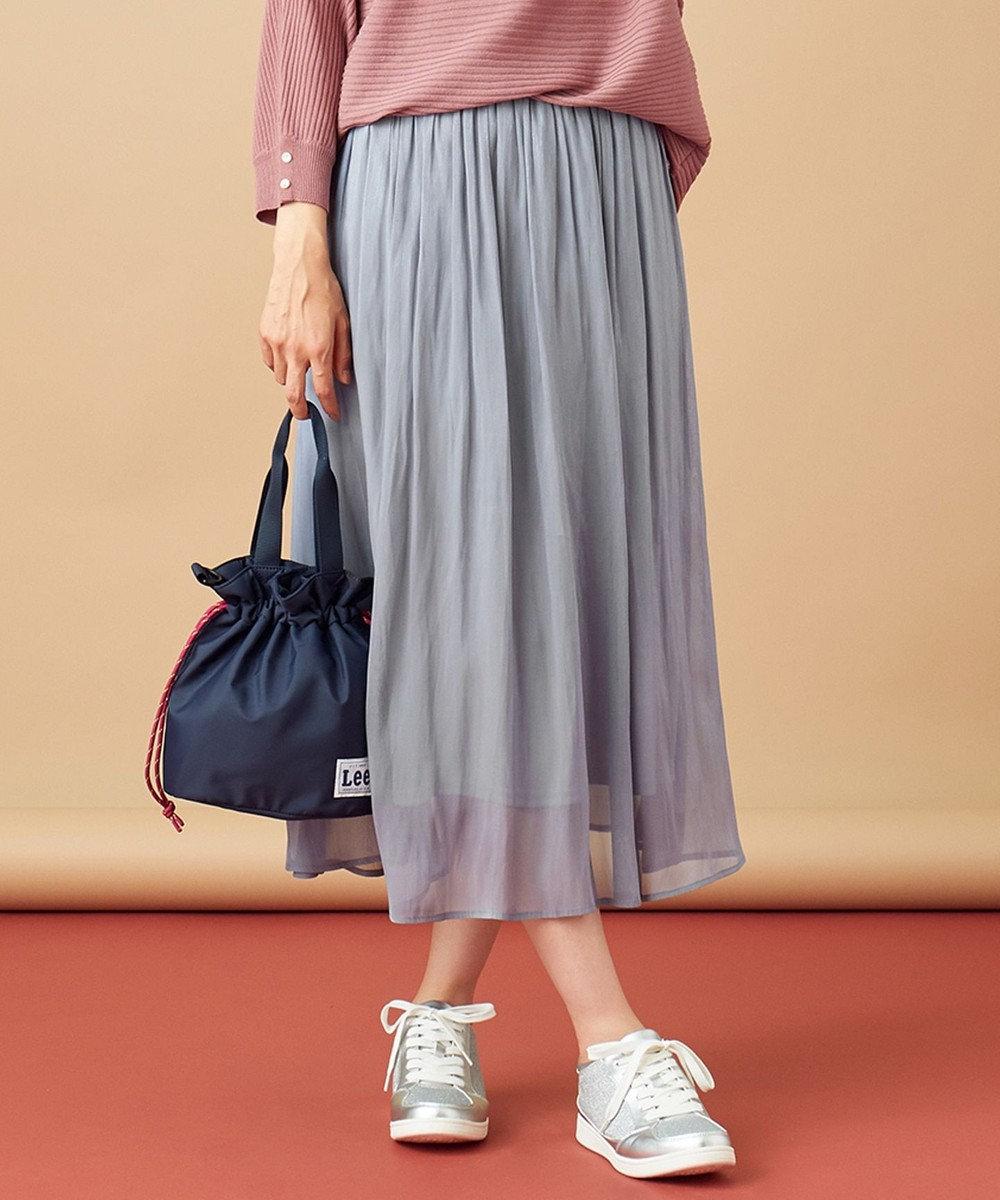 any SiS L 【洗える】シアーライトクロス スカート スモーキーブルー
