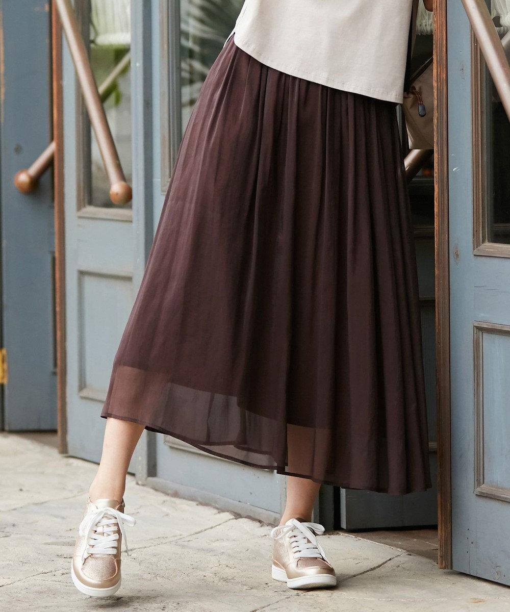 any SiS L 【洗える】シアーライトクロス スカート ブラウン