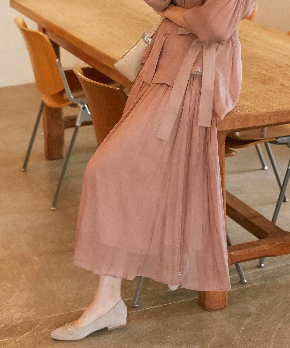 any SiS L 【洗える】シアーライトクロス スカート ダスティピンク