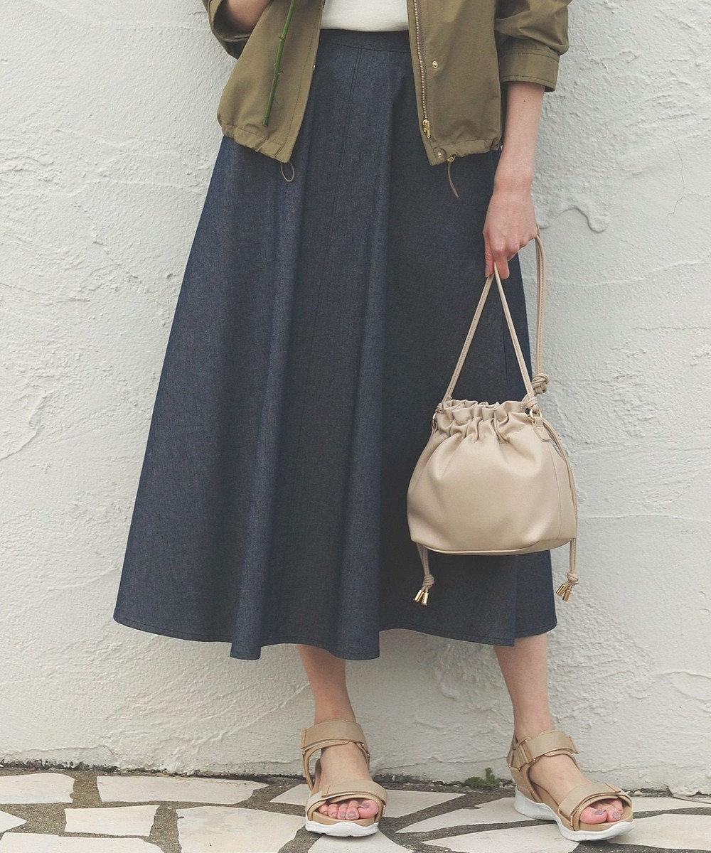 any SiS 【Ray5月号掲載】デニムライクツイルフレア スカート ブルーシャンブレー