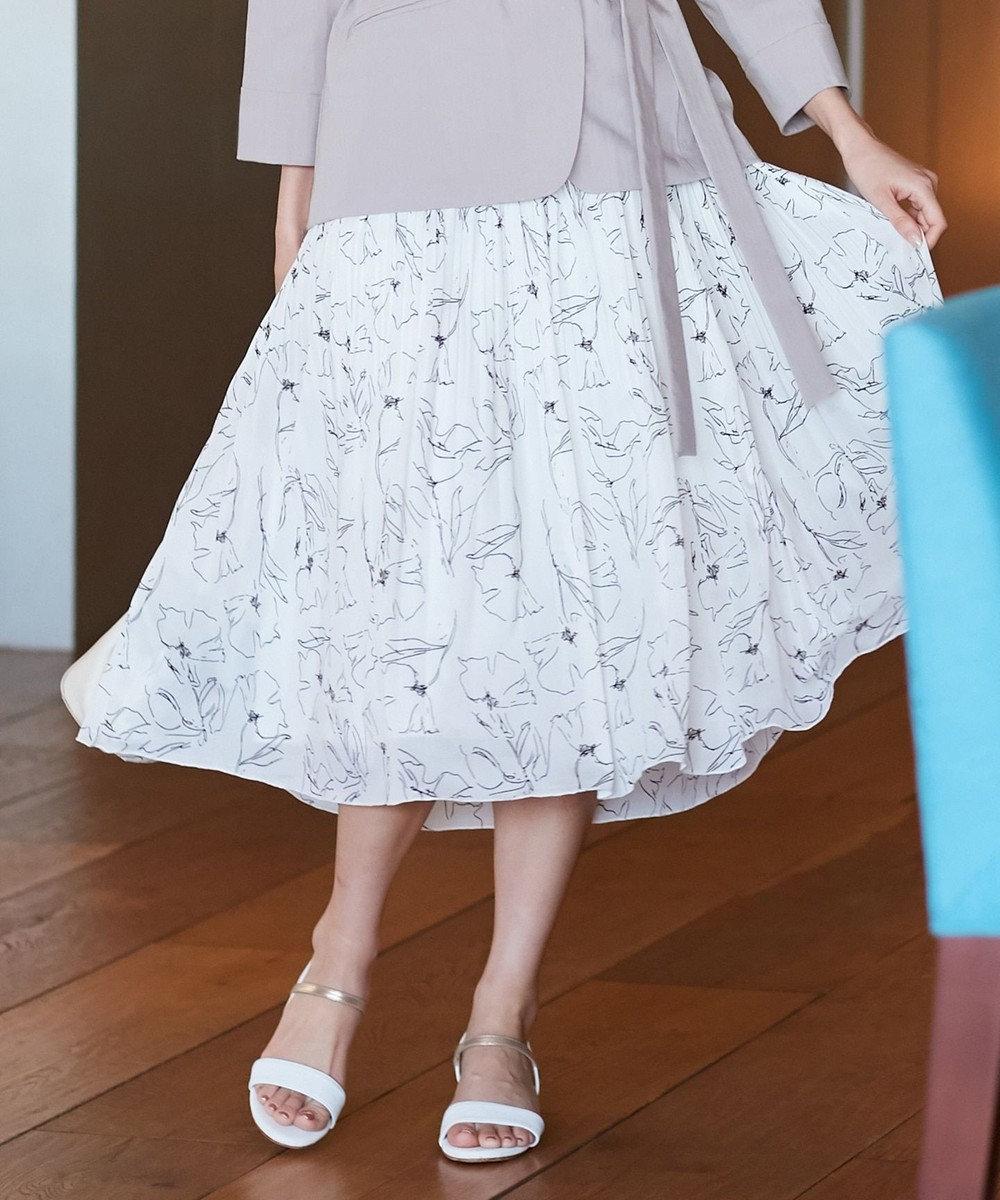 any SiS ラインアートフラワープリント スカート アイボリー
