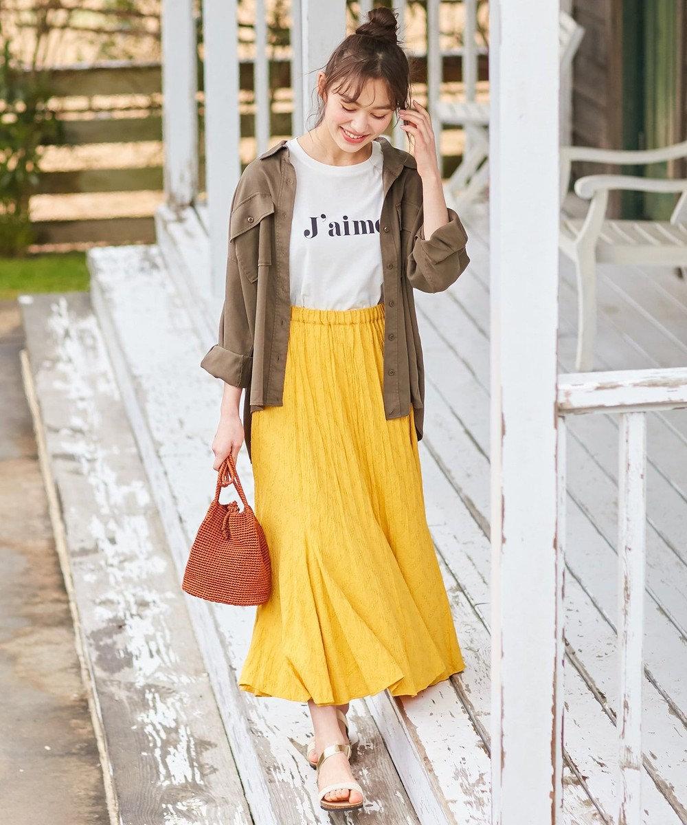 any SiS 【WEB限定色あり】L'aubeクリンクルマーメイド スカート WEB限定・イエロー