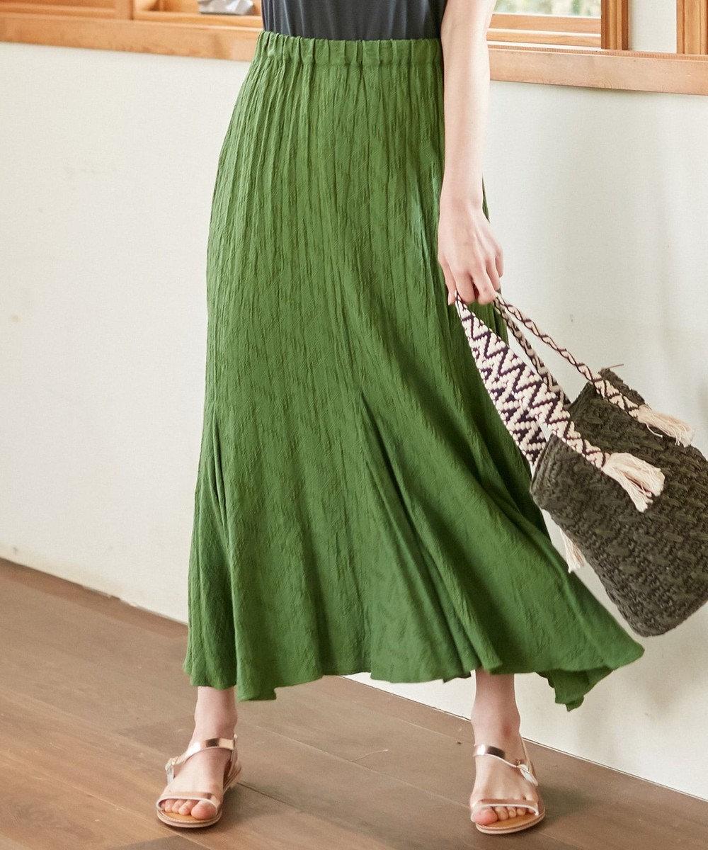 any SiS 【WEB限定色あり】L'aubeクリンクルマーメイド スカート グリーン
