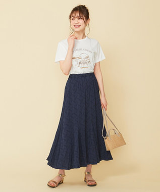any SiS 【WEB限定色あり】L'aubeクリンクルマーメイド スカート ネイビー