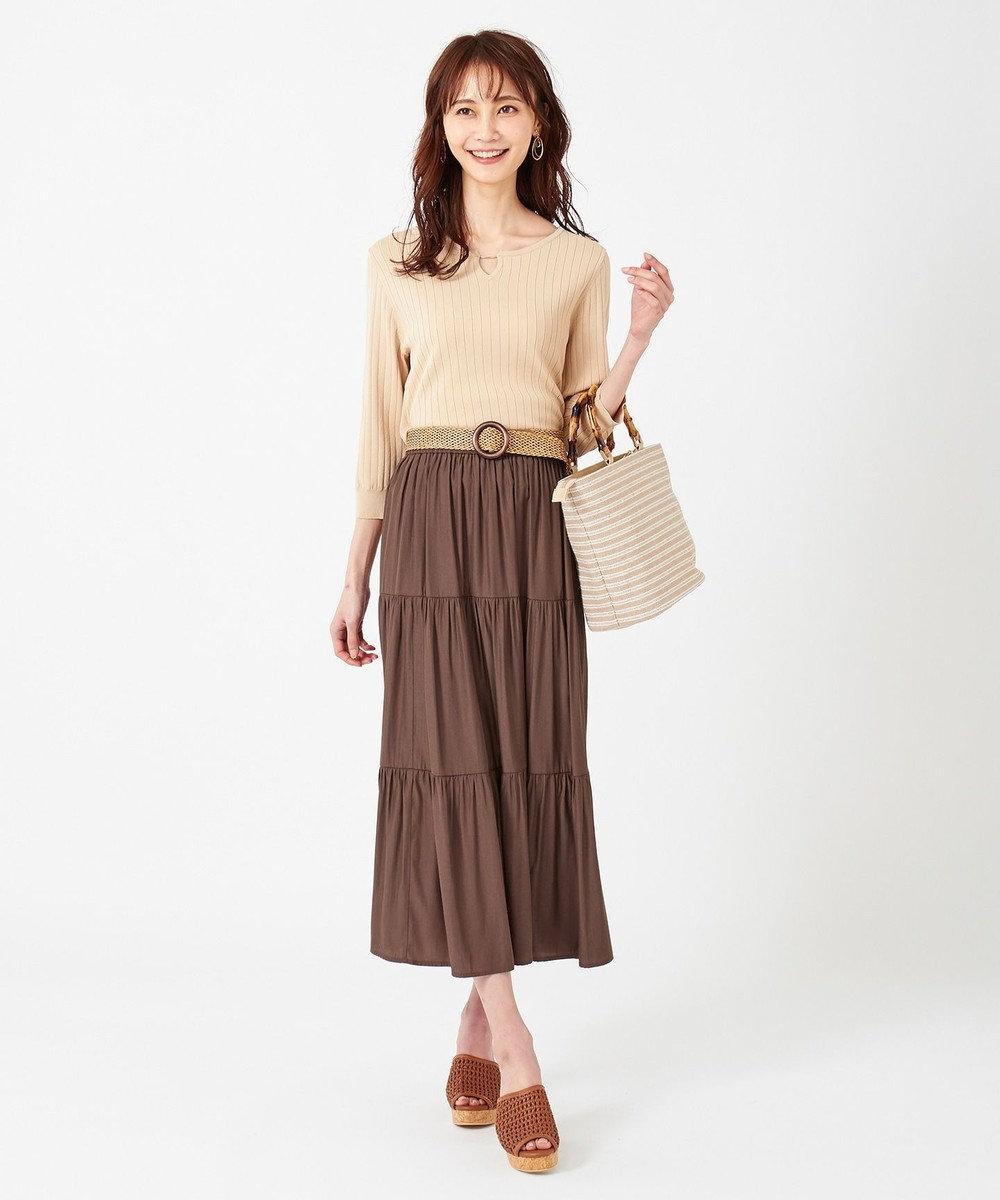 any SiS ティアードマキシ スカート ブラウン