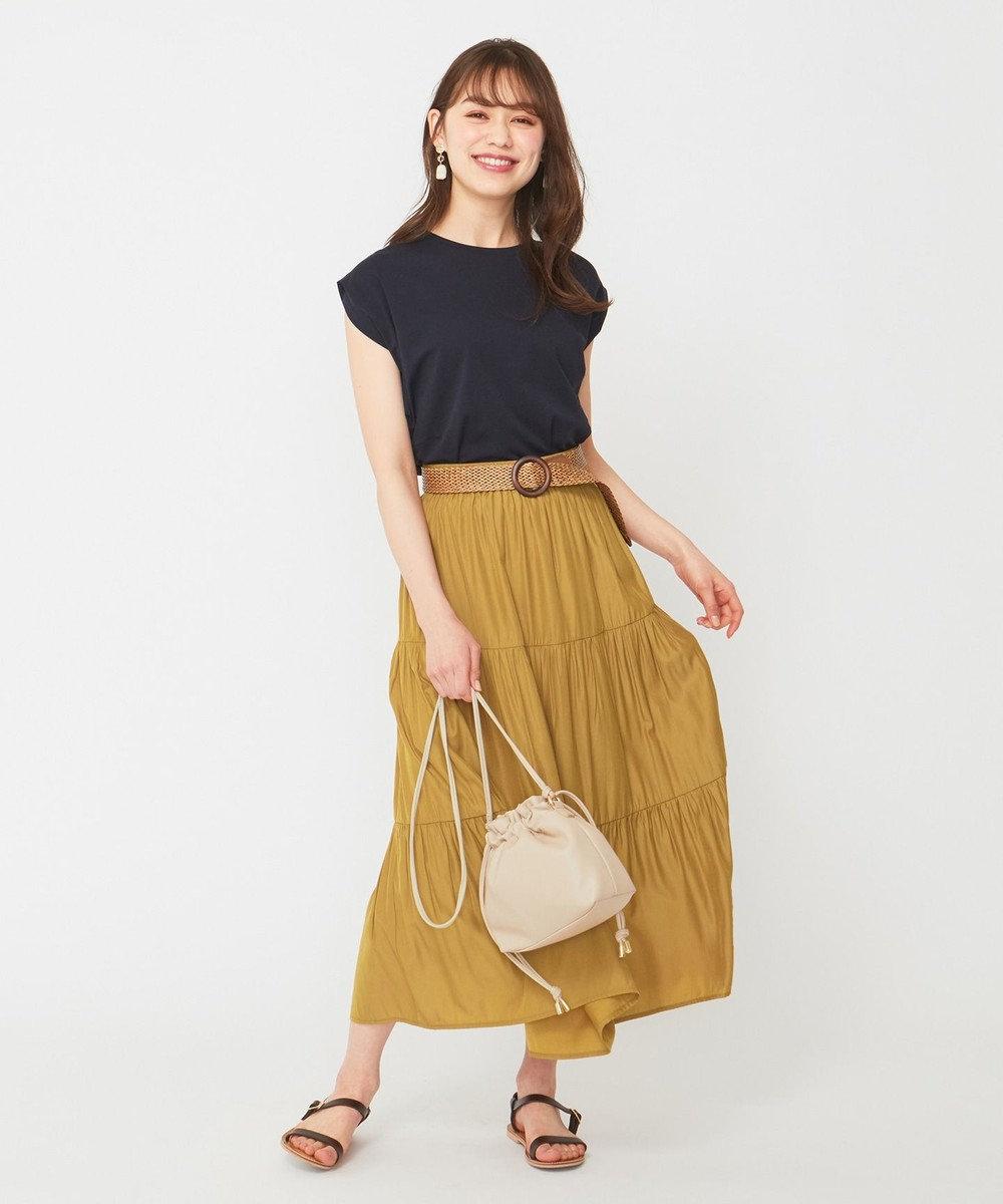 any SiS ティアードマキシ スカート マスタード