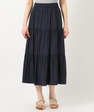 any SiS ティアードマキシ スカート ダークネイビー