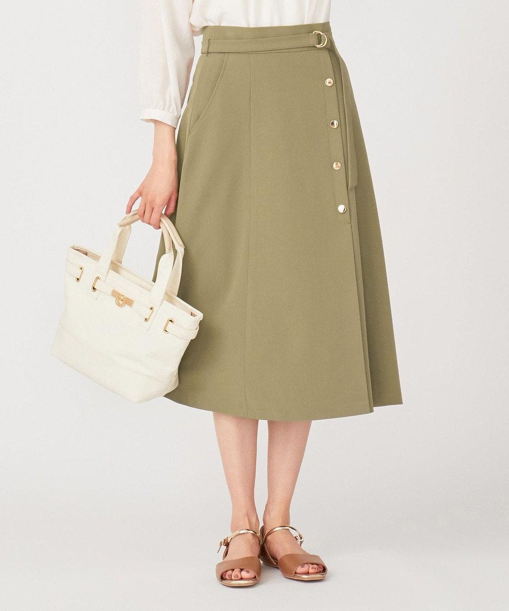 any SiS 【洗える】サイドボタンフレア スカート カーキ