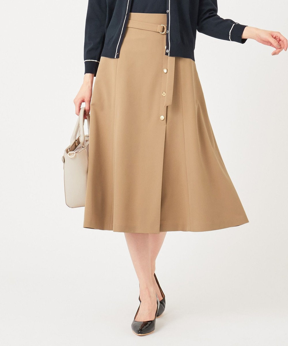 any SiS S 【洗える】サイドボタンフレア スカート キャメル