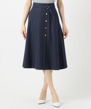 any SiS 【洗える】サイドボタンフレア スカート シャンブレーブルー