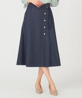 any SiS L 【洗える】サイドボタンフレア スカート シャンブレーブルー