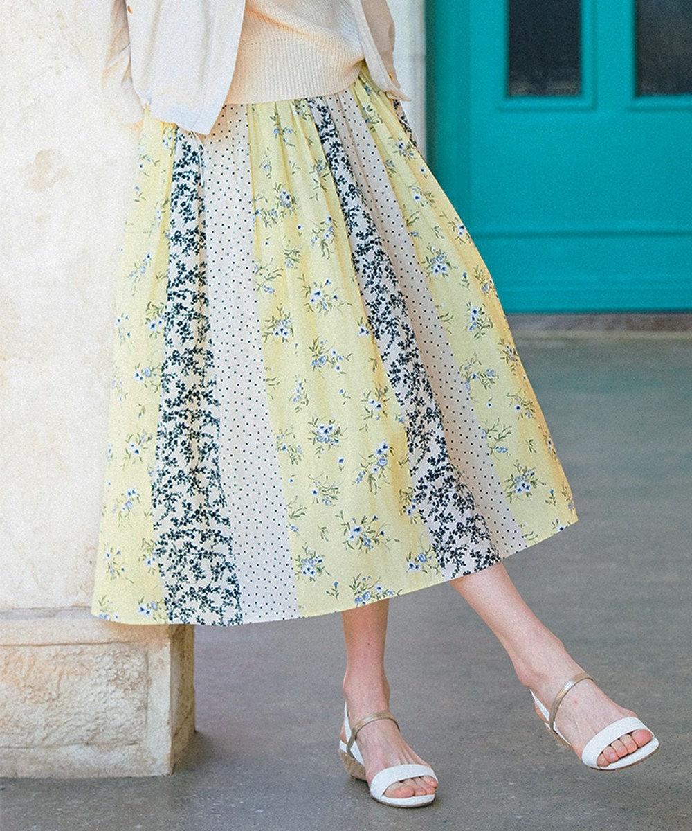 any SiS 【美人百花3月号掲載】スプリングパネルプリント スカート イエロー