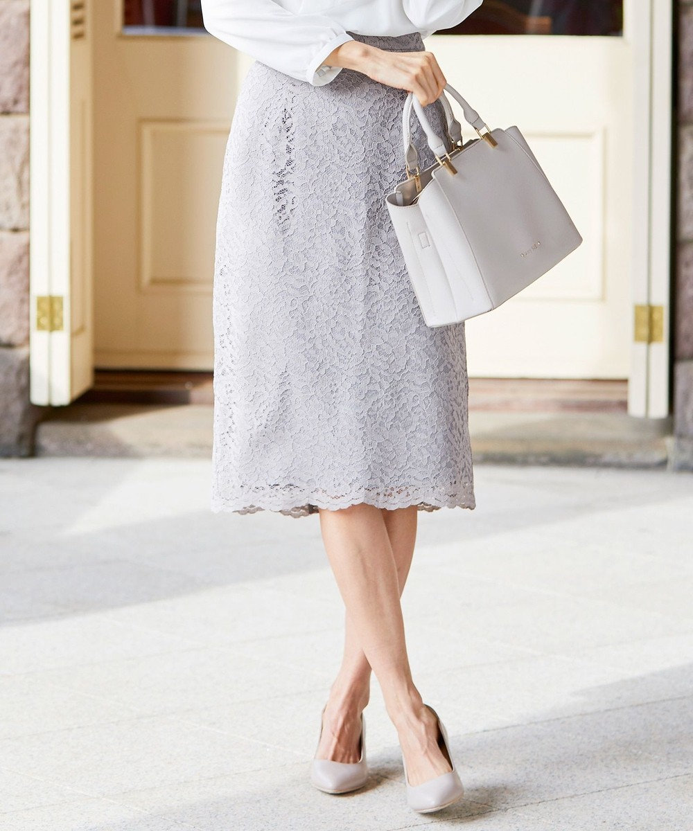 any SiS 【洗える】レーシーペンシル スカート グレージュ