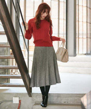 any SiS L 【洗える】フレアチェック/ツイード スカート モノトーンツイード