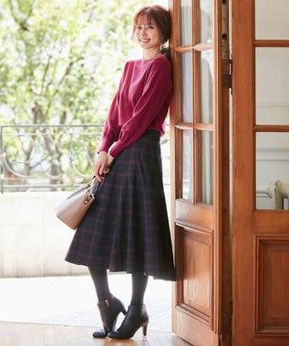 any SiS L 【洗える】フレアチェック/ツイード スカート ネイビーチェック