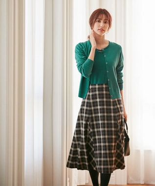 any SiS L 【洗える】フレアチェック/ツイード スカート ブラウンチェック