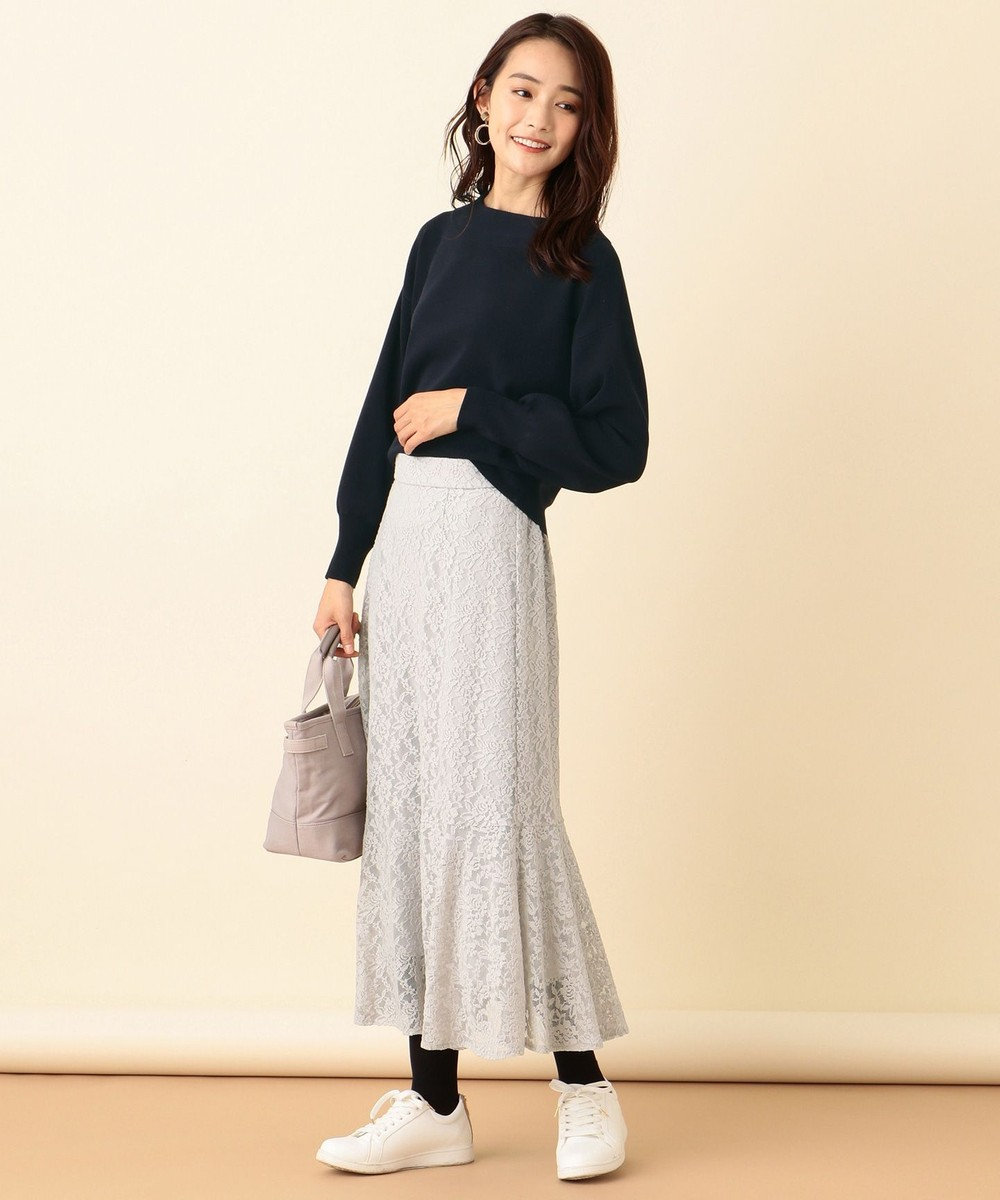 any SiS S 【洗える】キモウレースフレア スカート ライトグレー