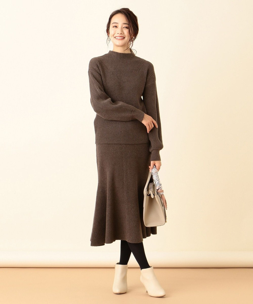 any SiS L 【洗える】マーメイドニット スカート ブラウン