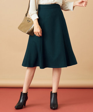 any SiS 【洗える】ハトメポイント フレアスカート ダークグリーン