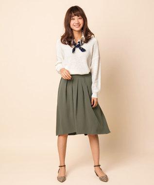 any SiS 【洗える】イレギュラーヘムフレアー スカート カーキ系
