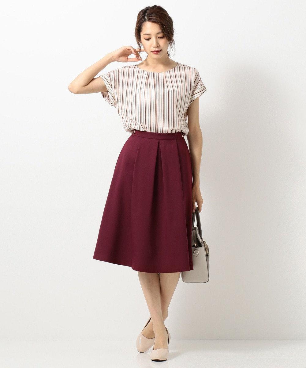 any SiS L 【洗える】サイドバックルポイント スカート ワイン系
