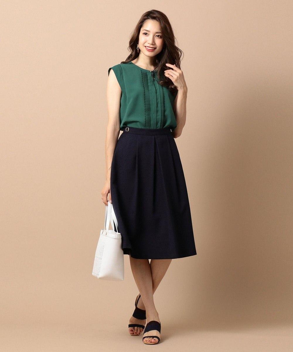 any SiS L 【洗える】サイドバックルポイント スカート ネイビー系