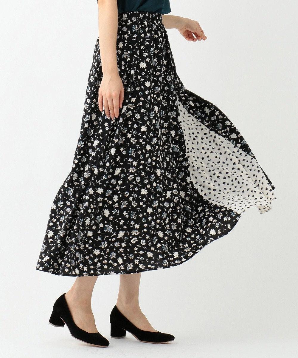 any SiS 【洗える】MIX pattern プリント スカート ブラック系