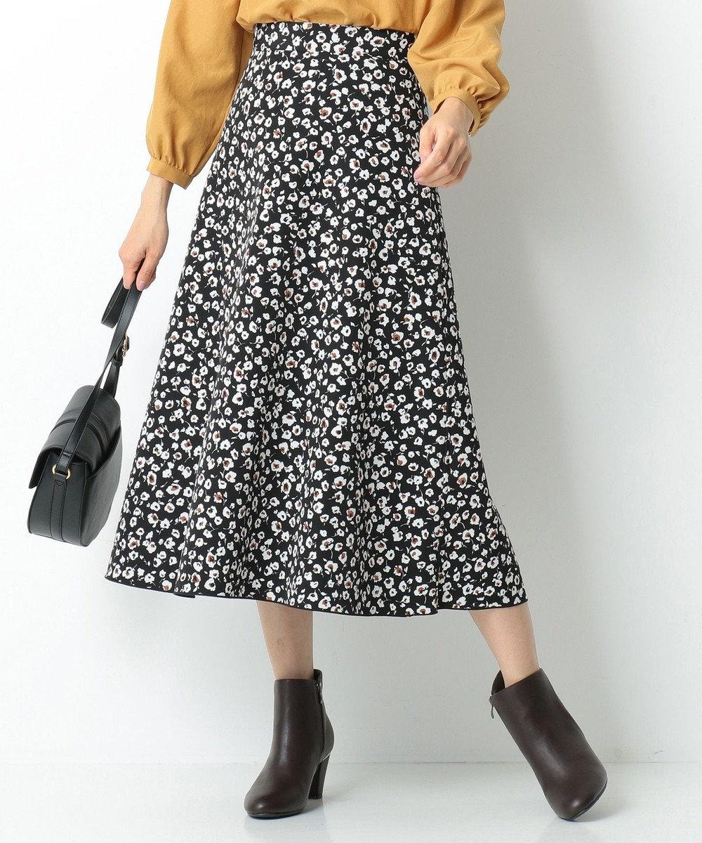 any SiS 【2WAY】プリント&ムジリバーシブル スカート ブラックフラワー×ブルーグリーン