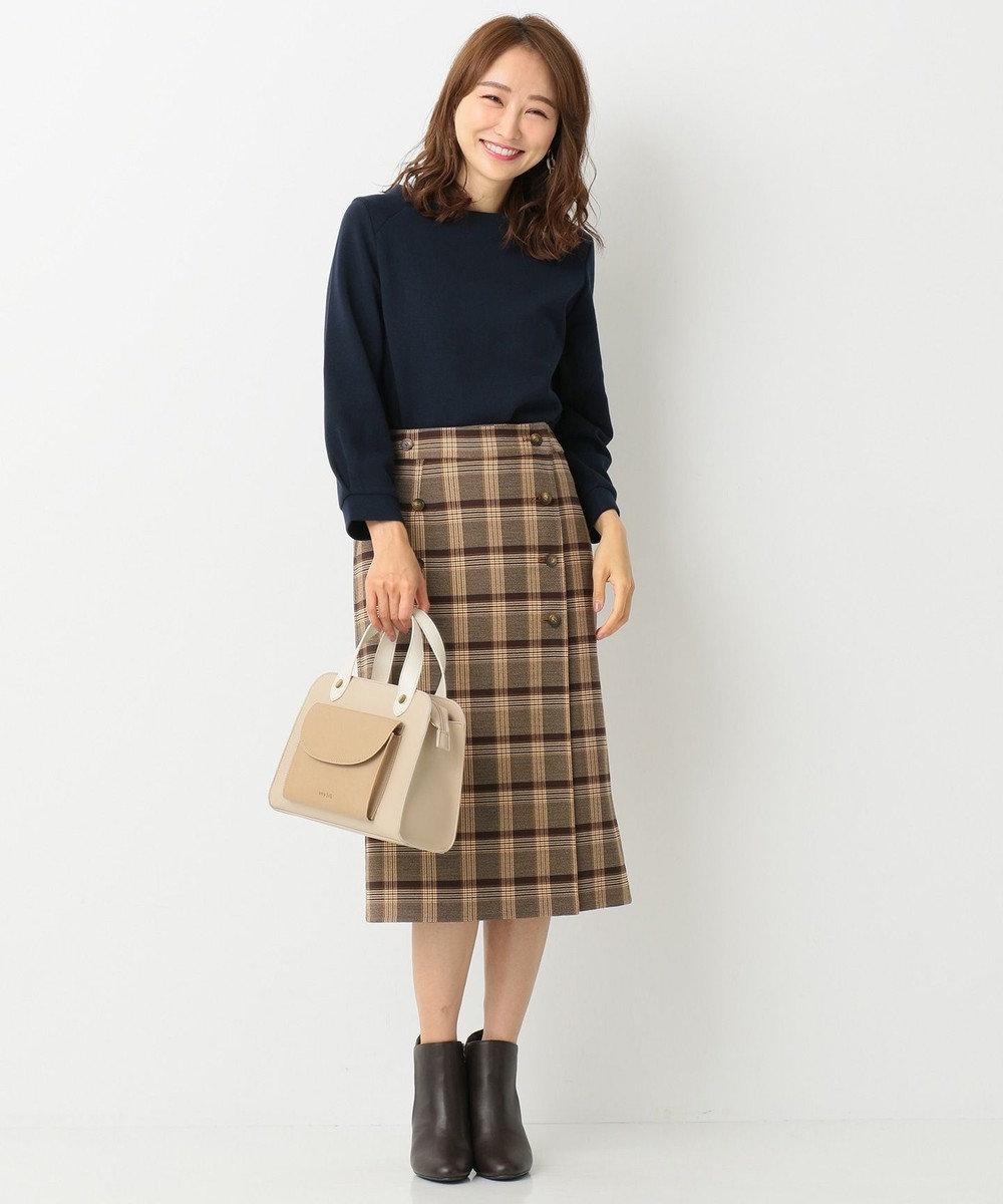 any SiS 【2WAY】クラシカルリバーシブルラップ スカート ブラウン系チェック