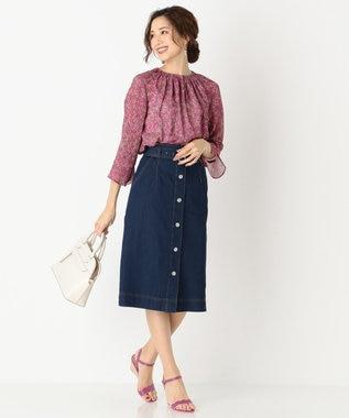 any SiS 【洗える】ライトデニム スカート ネイビー系