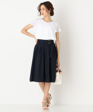 any SiS 【洗える】スプリングタックフレア スカート ネイビー系