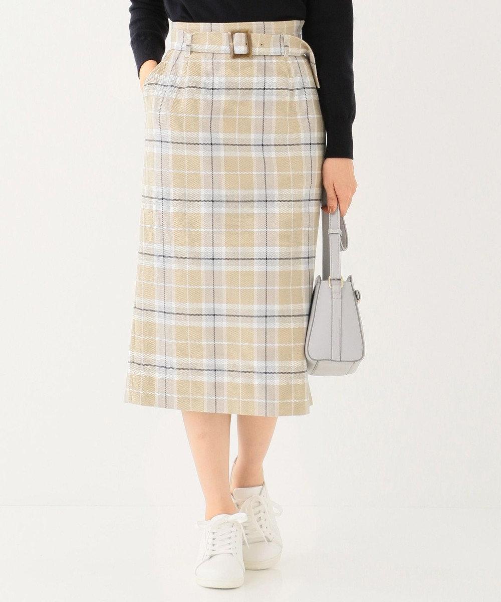 any SiS スプリングチェックナロー スカート ベージュ系2