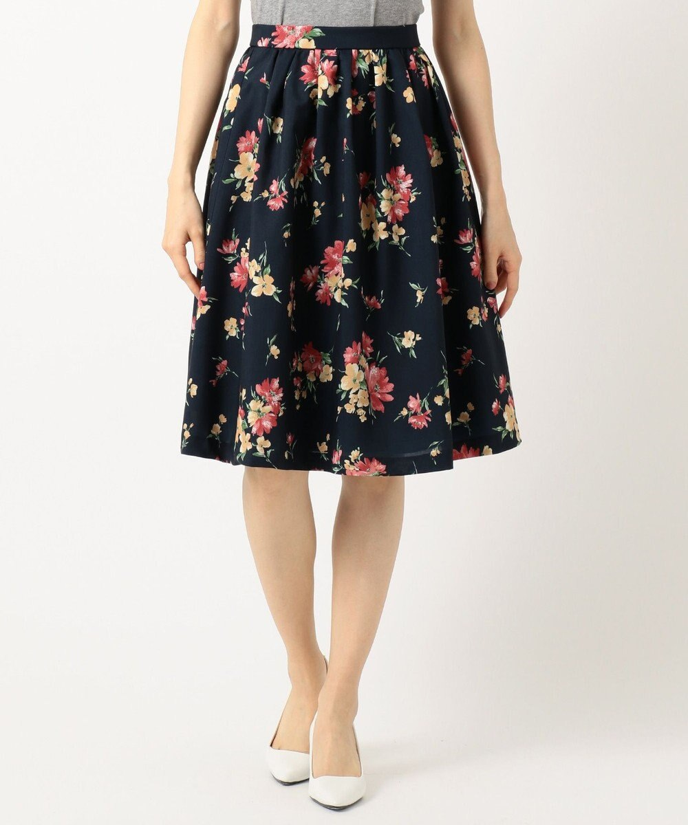 any SiS L 【洗える】スプリングフルール スカート ネイビー系