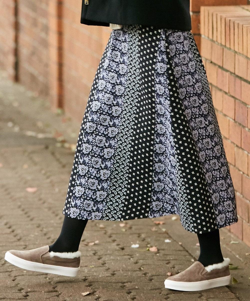 any SiS S 【洗える】パネルプリントロング スカート ネイビー系4